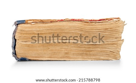 old vintage book end on an isolated white background - stock photo