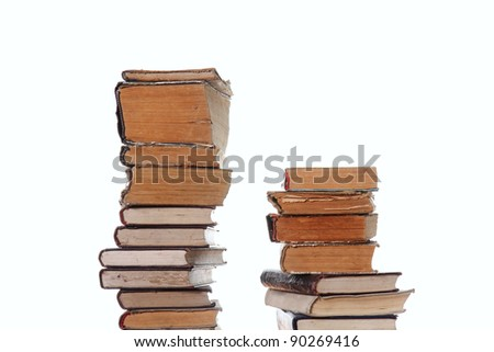 Old vintage, books isolated on wite background