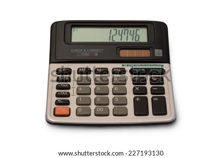 Old vintage calculator isolated on white. - stock photo