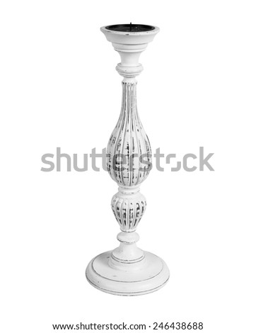 old vintage candlestick isolated on white background - stock photo