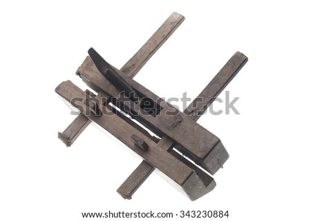 old vintage carpenter tool, isolated on white - stock photo
