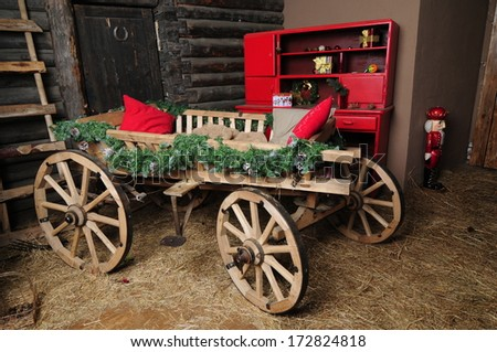Old vintage cart  - stock photo
