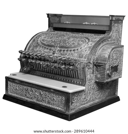 Old vintage cash register in black and white over white. - stock photo