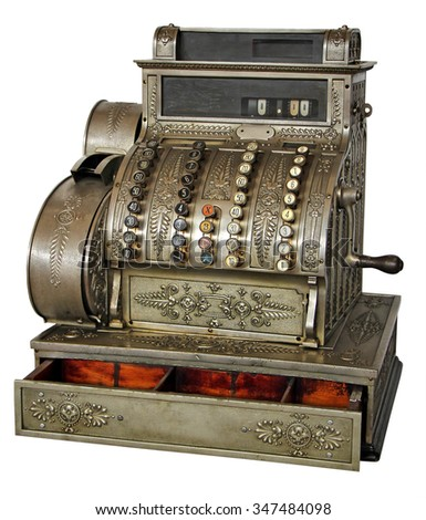 Old vintage cash register isolated on white background with Clipping Path - stock photo
