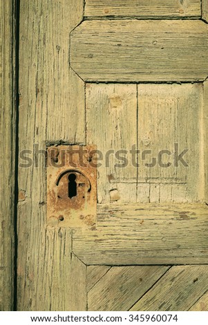 Old, vintage cellar wood door with a rusty and decorated keyhole - stock photo