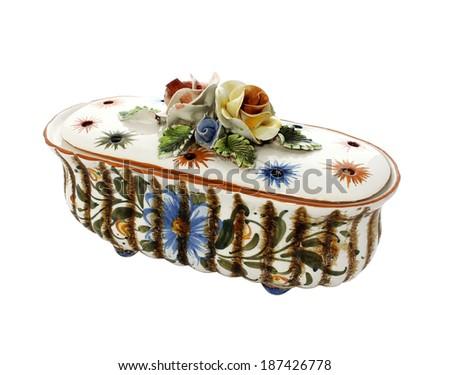 old vintage ceramic casket isolated on white background - stock photo