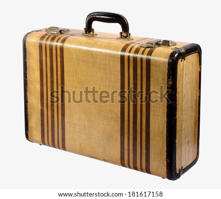 Old vintage classic rigid frame suitcase with brass locks and decorated with stripes standing upright isolated on white conceptual of travel and vacations - stock photo