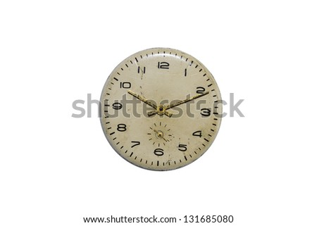 Old vintage clock face  Isolated on white - stock photo