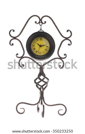 old vintage clock isolated on white - stock photo