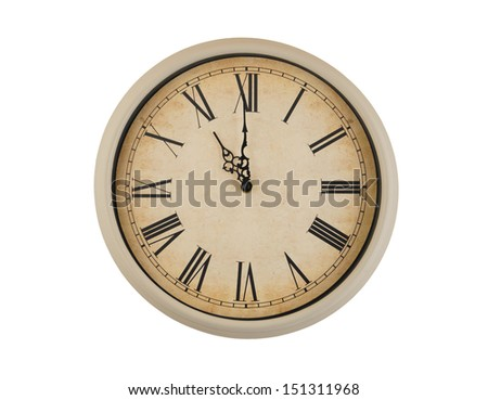 Old vintage clock isolated on white background