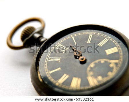 Old vintage clock on white background - stock photo