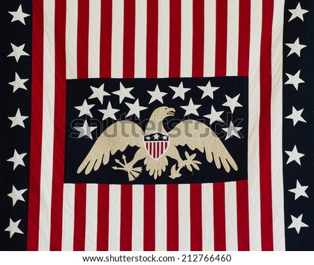 Old vintage colonial American flag - stock photo