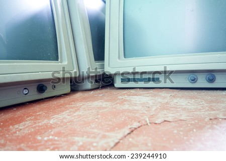 old vintage computer monitor largely - stock photo