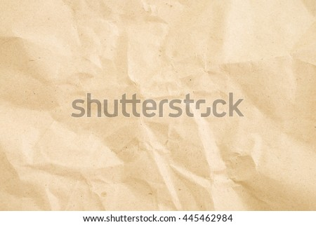 old vintage crumpled cream color tone paper pattern texture background in sepia light.bright:tan creased plain flat backdrop concept.grunge craft wallpaper.empty edge parchment paper sheet wall. - stock photo