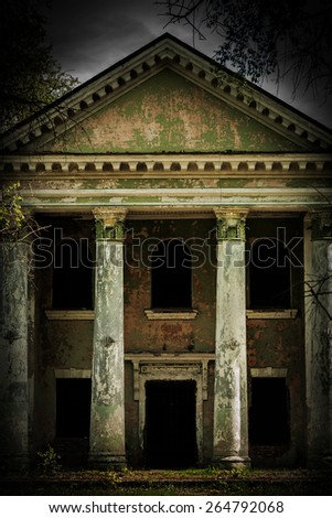 old vintage damaged grunge building insagram sttile  - stock photo