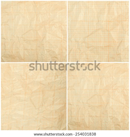 Old vintage discolored dirty graph paper. Blank millimeter grid yellow paper sheet background or textured - stock photo