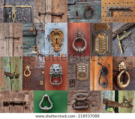 Old vintage door handles and deadbolt, set - stock photo