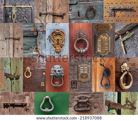 Old vintage door handles and deadbolt, set - stock photo