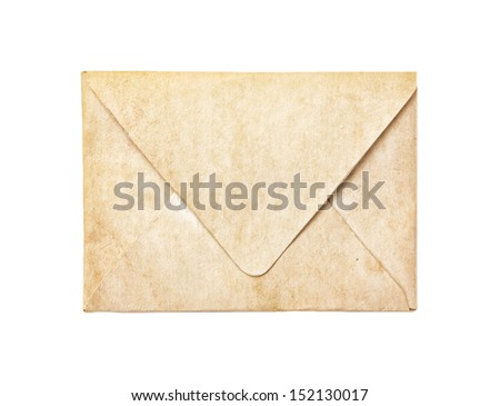Old vintage envelope isolated on white