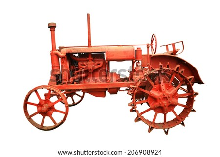Old Vintage Farm Tractor isolated on white background - stock photo