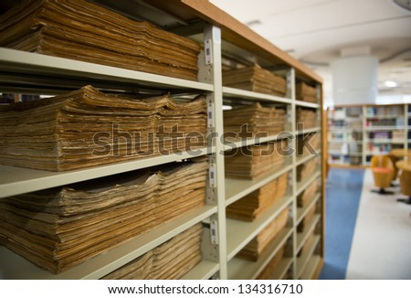 old vintage files in a storage room. - stock photo