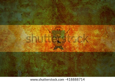 old vintage flag of one of administrative divisions of argentina called la pampa - stock photo
