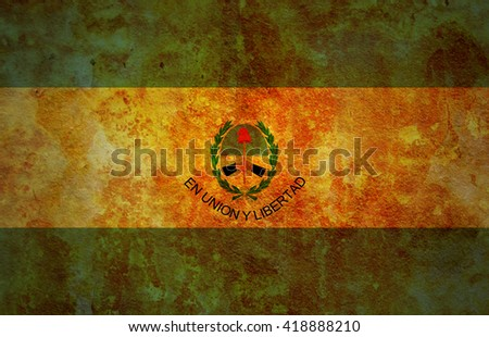 old vintage flag of one of administrative divisions of argentina called san juan - stock photo