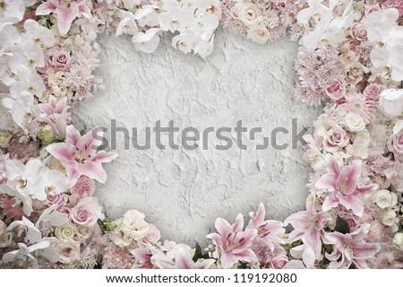 Old vintage flower frame background - stock photo