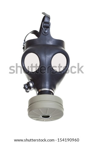 Old vintage gas mask on a white background. - stock photo