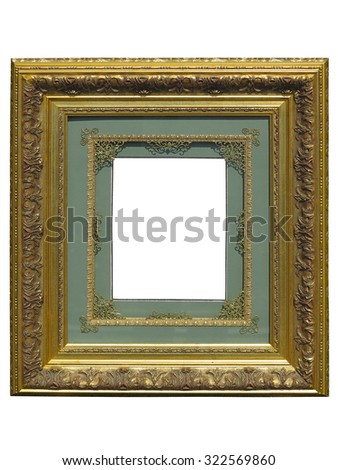 Old vintage golden picture frame isolated on white background - stock photo