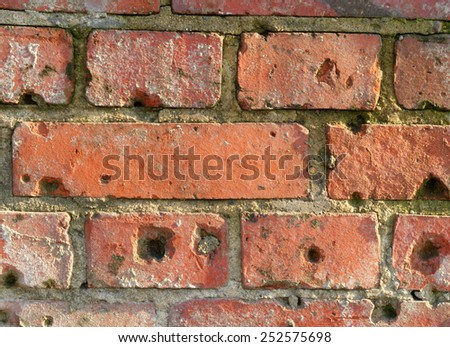 Old, vintage, grunge brick wall with wholes