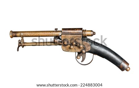 Old vintage gun isolated on white with clipping path - stock photo