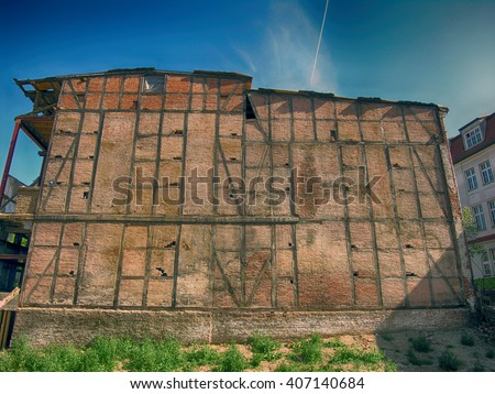 Old vintage half-timbered gable from  Germany. - stock photo