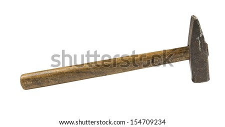 Old vintage hammer 500 g with wooden handle isolated on white - stock photo