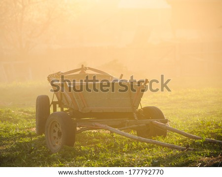 Old, vintage hay wagon - stock photo