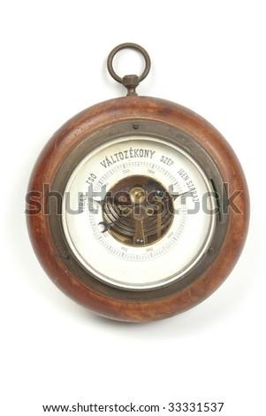 Old vintage Hungarian barometer isolated on white background - stock photo