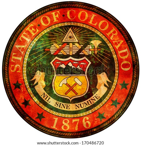 old vintage isolated over white symbol of colorado - stock photo
