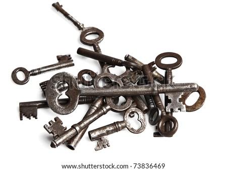 Old Vintage key on white background - stock photo
