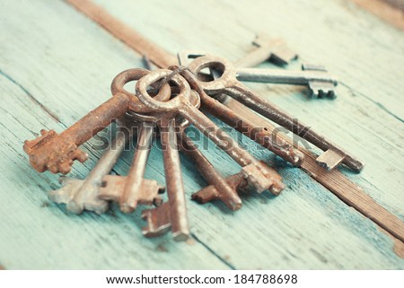 Old Vintage Keys. Vintage effects - stock photo
