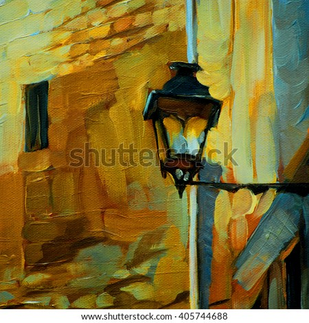 old vintage lantern in gothic quarter barcelona,painting by oil on canvas, illustration - stock photo