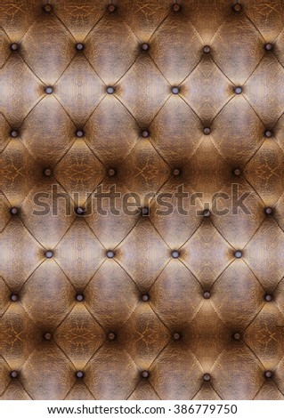 Old Vintage leather close-up and detail Sofa background - stock photo