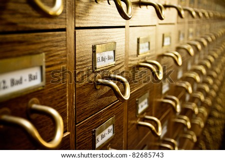 Old Vintage Library Card Catalog - stock photo