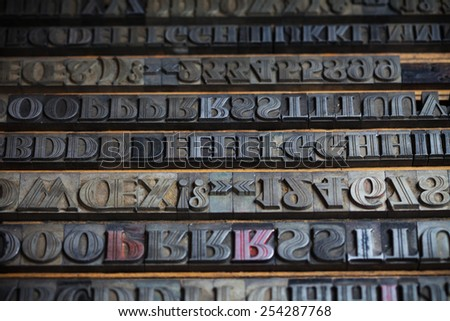 Old vintage metal printing press letters