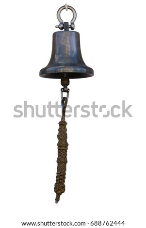 old vintage metal ship's bell with a rope on a white background