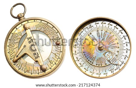 Old vintage metallic clock with time zones and compass isolated on white background - stock photo