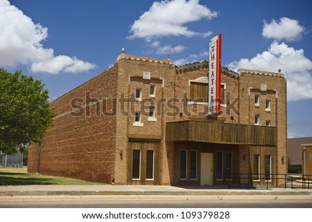 Old vintage movie theater in New Mexico, USA - stock photo