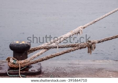 Old Vintage Naval Rope - stock photo