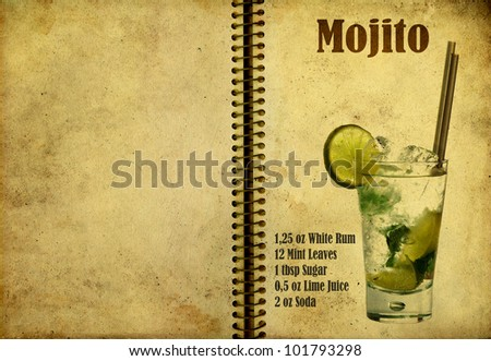 Old,vintage or grunge Spiral Recipe  Notebook with Mojito  cocktail  on the page.Room for text - stock photo