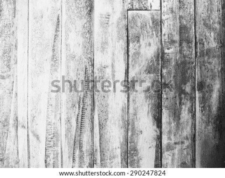 Old vintage panel wood background from solid wood ruin table pale black and white version - stock photo