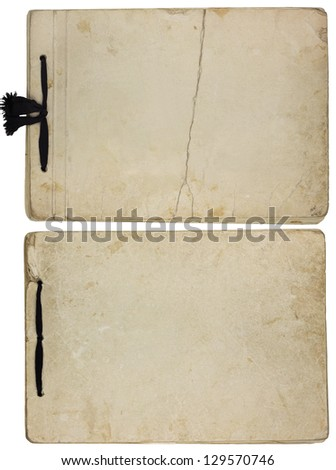 Old vintage paper albums isolated on white background